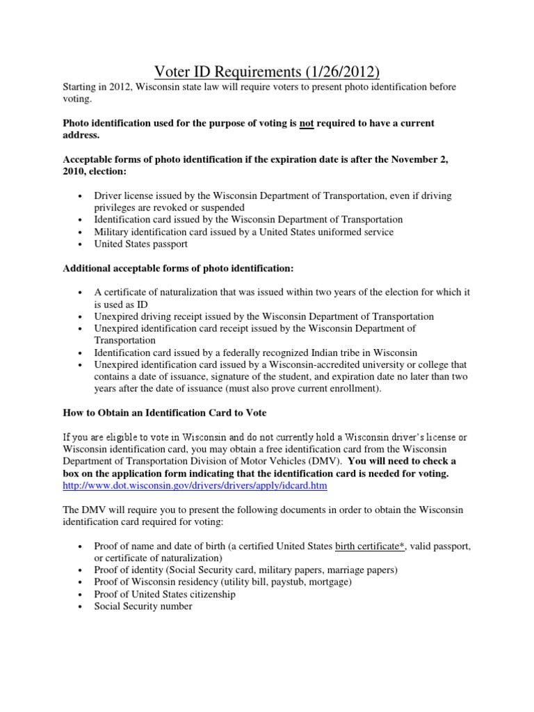 Village Of Trempealeau Voter Id Requirements Department Of Motor