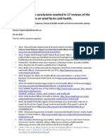 Summary of main conclusions reached in 17 reviews of the research literature on wind farms and health
