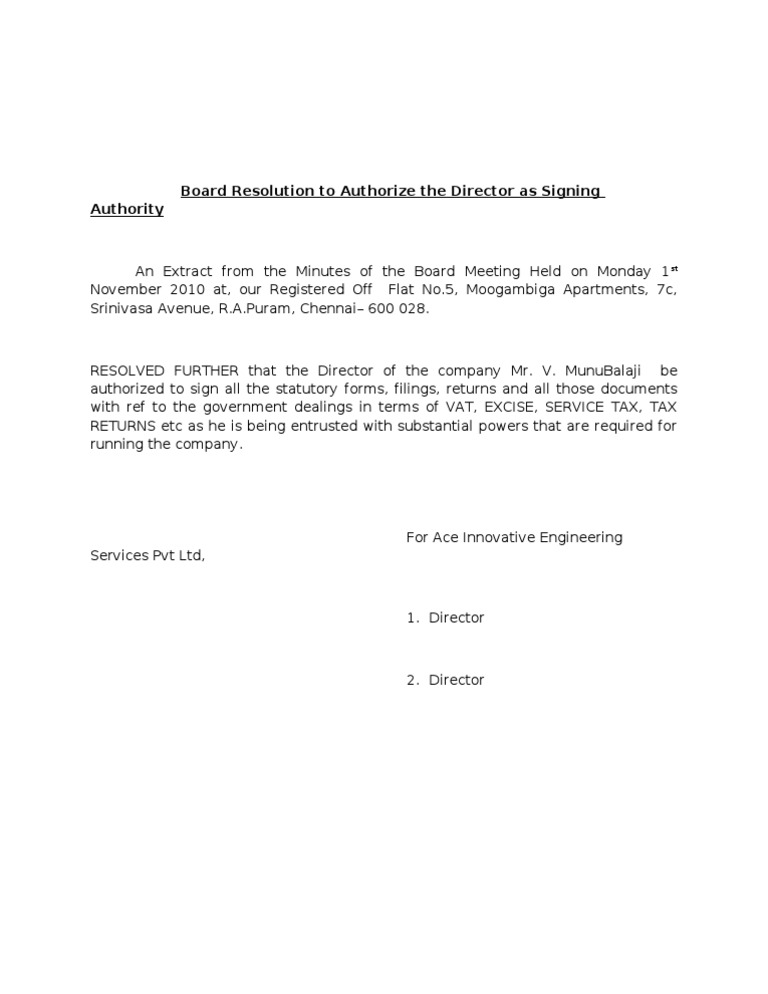 Board resolution to authorize the director as signing authority spiritdancerdesigns Choice Image