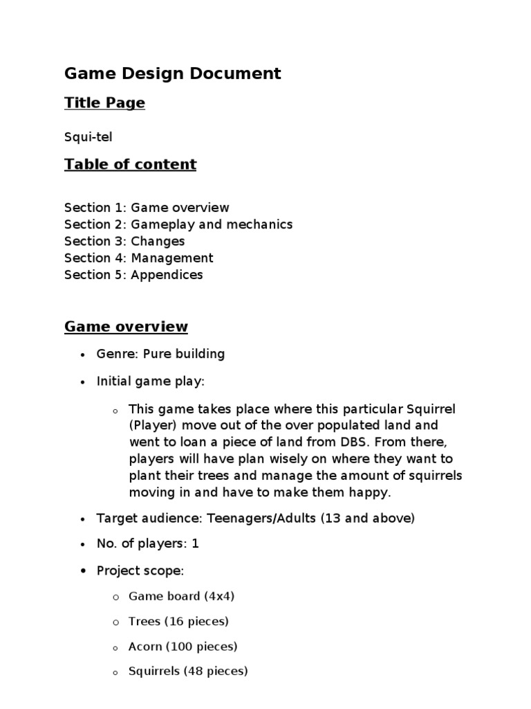 SquiTel Game Design Latest Loans Acorn - Board game design document