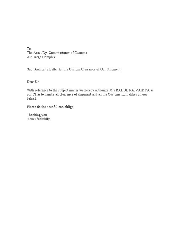 Authority Letter Format
