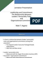 Matt Argano, Ph.D. - A Quantitative Study of Personality and Commitment