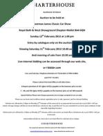 Charterhouse Car Auction 12th Feb 2012