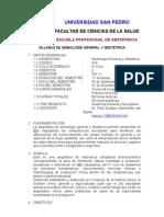UNIVERSIDAD SAN PEDRO Syllabus de Semiología General y Obstétrica