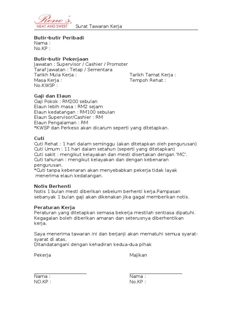 surat tawaran kerja