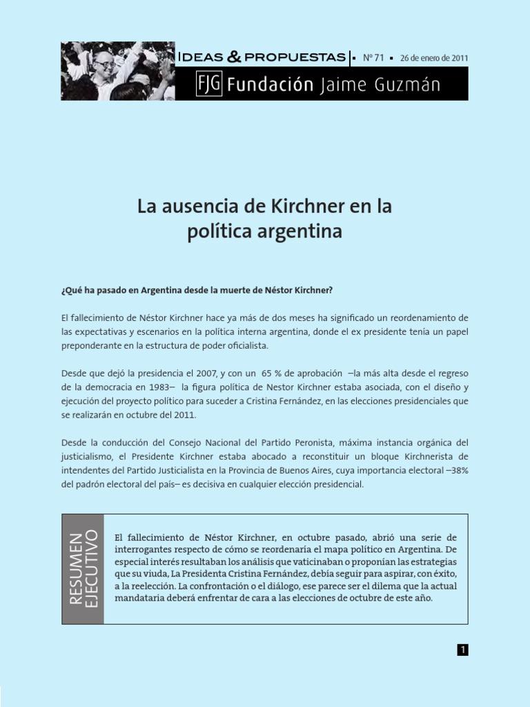 Ausencia de Kirshner en La Politica Argenitna Fjm