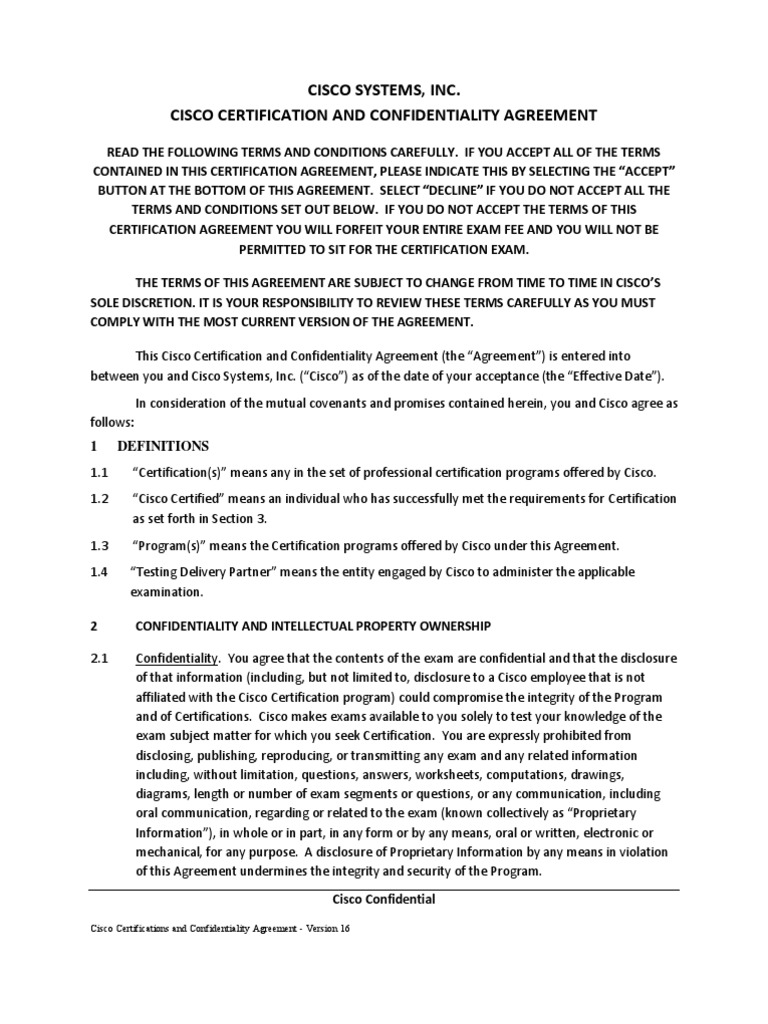 Cisco Career Certifications And Confidentiality Agreement V16