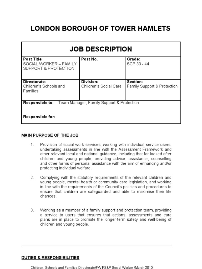 Social Worker   Job Description And Person Specification | Social Work |  Equal Opportunity