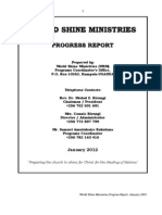 World Shine Ministries Progress Report January 2012