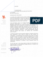 Carta de Alejandro al Gobernador exigiéndole que haga públicos TODOS los documentos referentes a sus viajes como Secretario de DACO