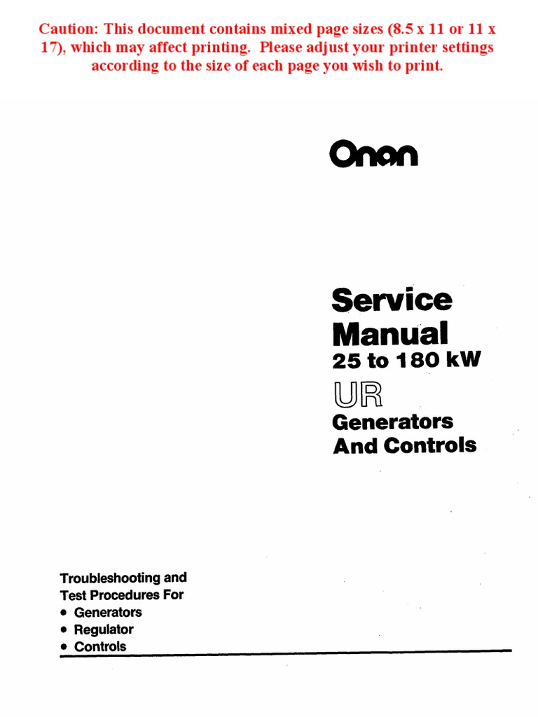 Onan UR Generator Manual Pub 900 0150 | Electric Generator | Rectifier