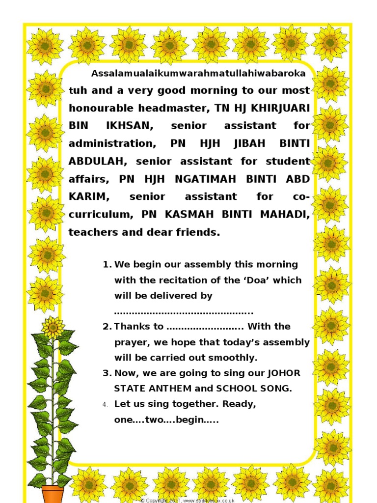 Monday Assembly - Text in English