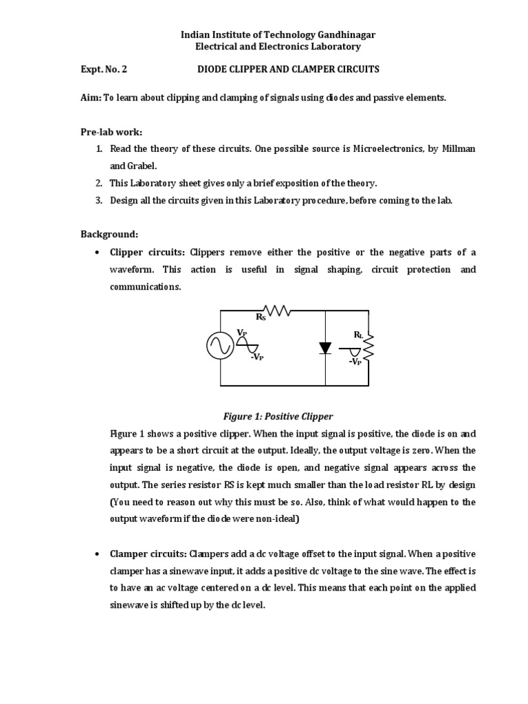 Expt No 2 Diode Clipper And Clamper Circuits Electrical Learn About Circuit Computer Engineering