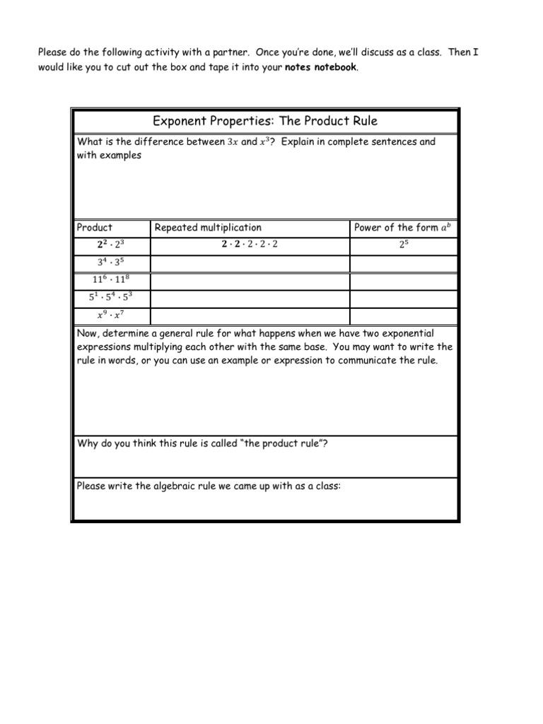 exponent rules proof worksheets. Black Bedroom Furniture Sets. Home Design Ideas