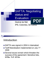 Negotiation Status & Evaluation of SAFTA