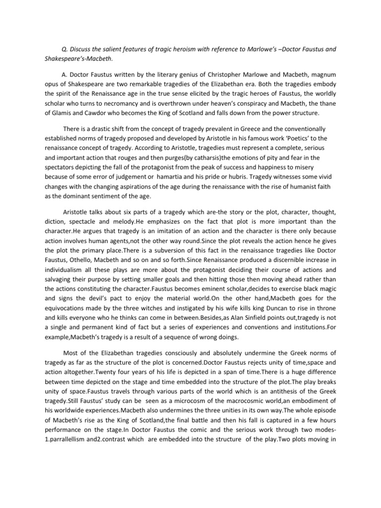 literary essay on macbeth as a tragic hero Topics for macbeth literary analysis essay: development of either lady macbeth or macbeth 5) a tragic hero is a protagonist topics for macbeth final essay.