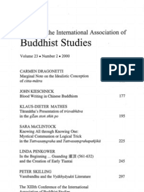 JIABS 23-2 | Buddhist Texts | Mind