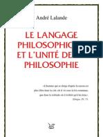 André Lalande = Le langage philosophique et l'unité de la philosophie