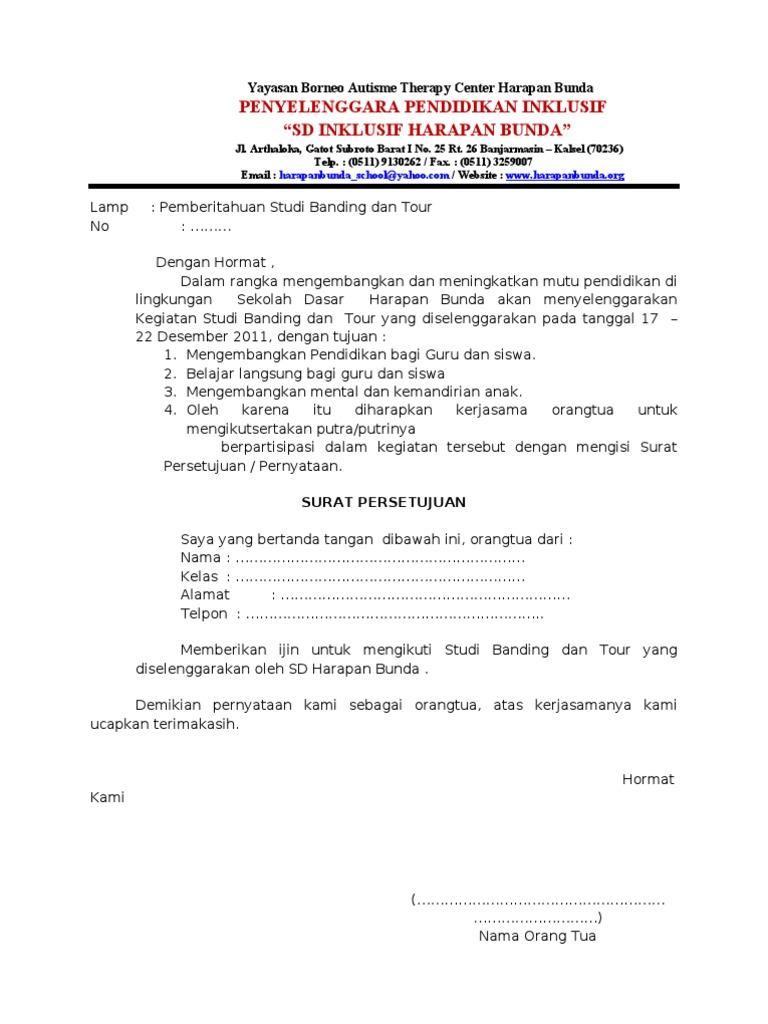 Surat Persetujuan Studi Tour