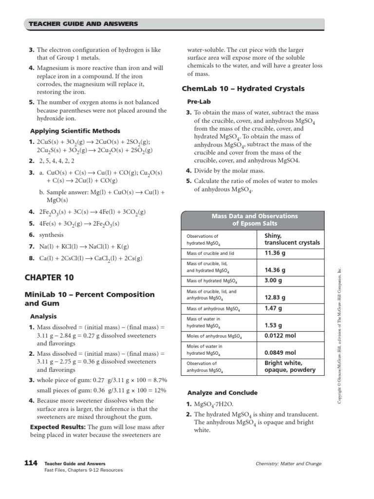 Worksheets Glencoe Mcgraw-hill Worksheet Answers chapters 10amp11 resources answer key mole unit stoichiometry