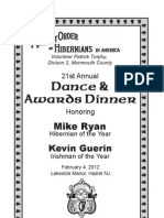 AOH Division 2 Monmouth County 2012 Dinner Dance Ad Journal