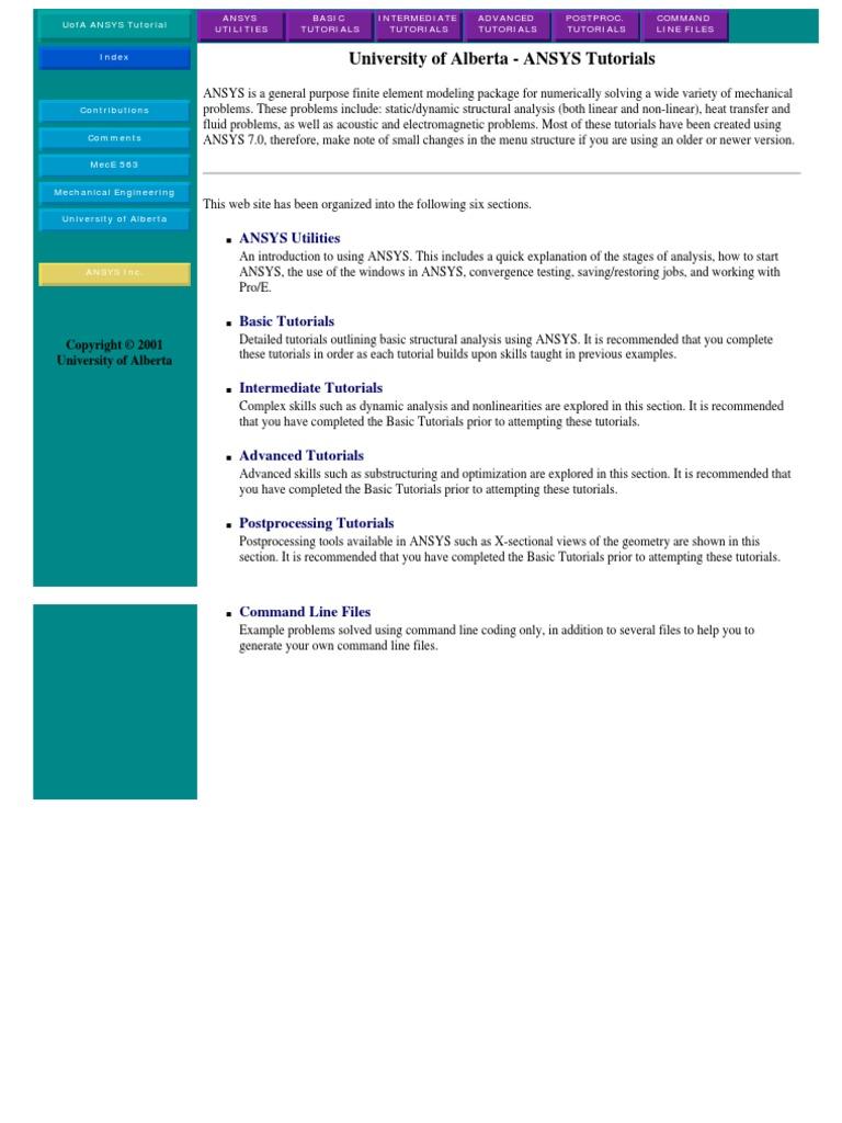 University of Alberta Ansys-Tutorials