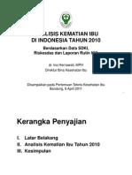 Analisis Kematian Ibu Di Indonesia Tahun 2010