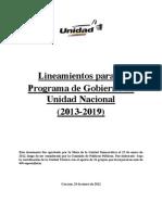 Programa Minimo de Gobierno de la Unidad Nacional