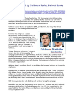 Romney Backed by Goldman Sachs - Newsmax