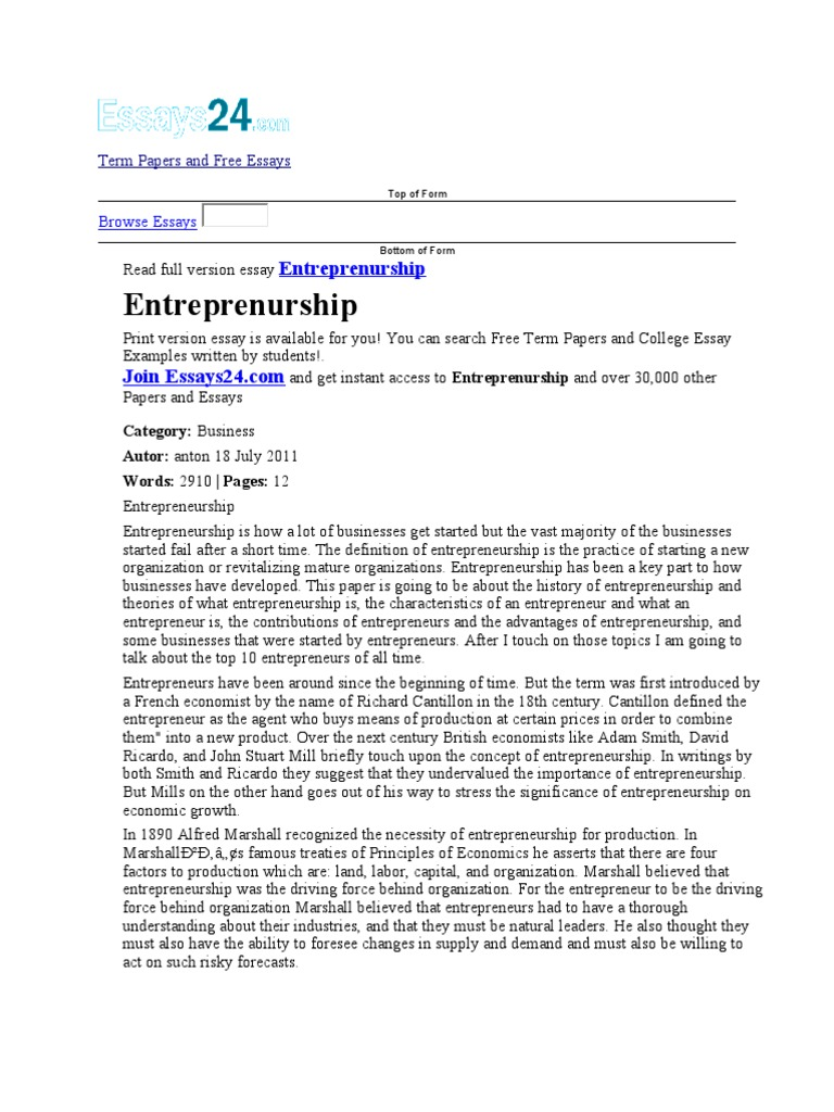 term papers and free essays  entrepreneurship  economics