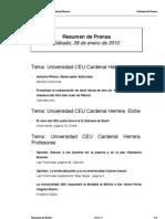Resumen prensa CEU-UCH 28-01-2012