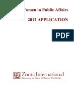 YWPA Application - Zonta Club 2012
