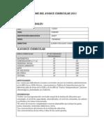 Informe Del Avance Curricular 2011