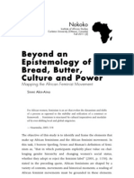 Beyond an Epistemology of Bread, Butter, Culture and Power- Mapping the African Feminist Movement