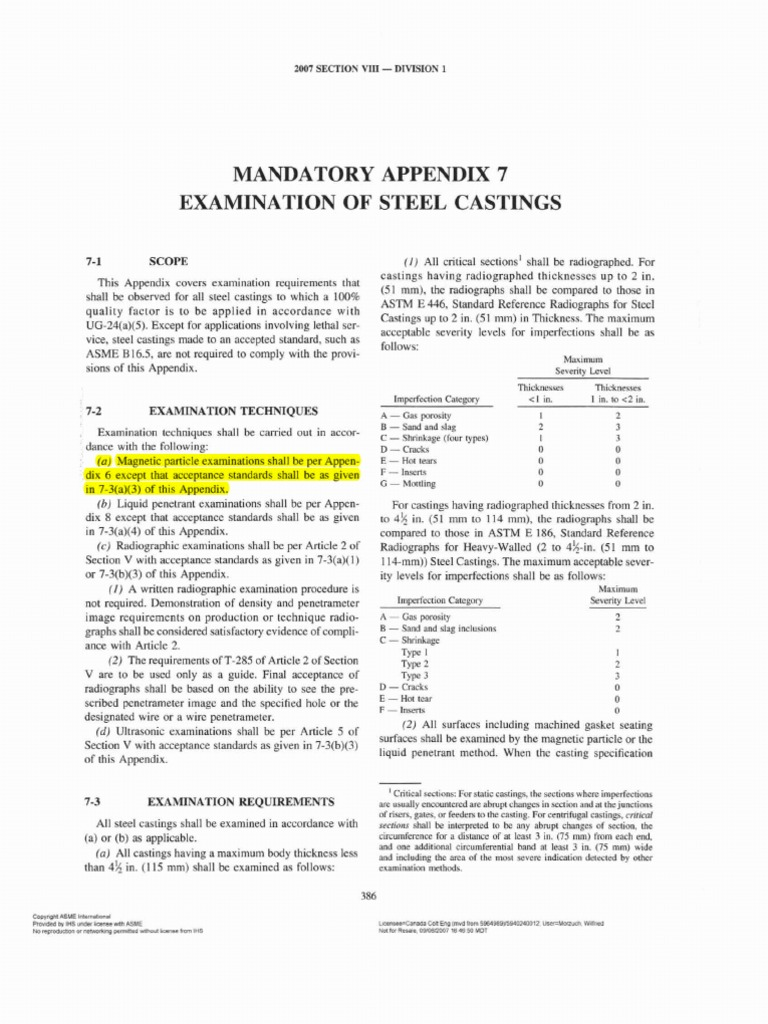 ASME 8 Div 1 Appendix 7 Examination of Steel Castings