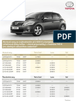 Cenník Toyota Auris 2012 platný pre SR