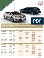 Cenník Toyota Avensis 2012 platný pre SR