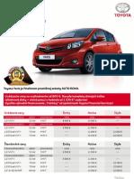 Cenník Toyota Yaris 2012 platný pre SR