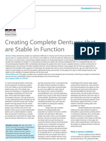Creating Complete Dentures That Are Stable in Function