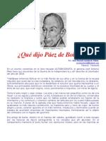 Bolívar según Páez