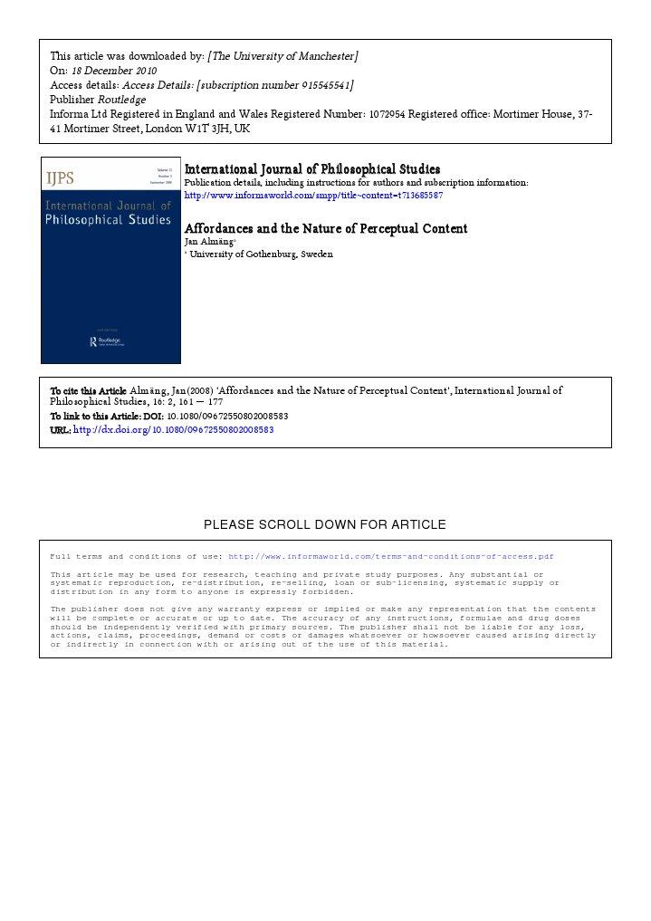 Almang 2008 Affordances And The Nature Of Perceptual Content