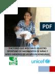 Informe Factores Afectan Registro Oportuno Nacimiento Menores Un Ano Honduras