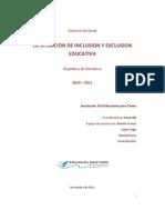 Informe Nacional Situacion Inclusion Exclusion Educativa Honduras