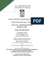 LEGT2741-Final Exam Session 1- 2007