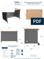 Enclosed Classroom Desk (CD48 Series) Technical Drawing