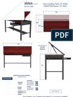 """Vision Drafting Table 72"""" (VISDT72 Series) Technical Drawing"""