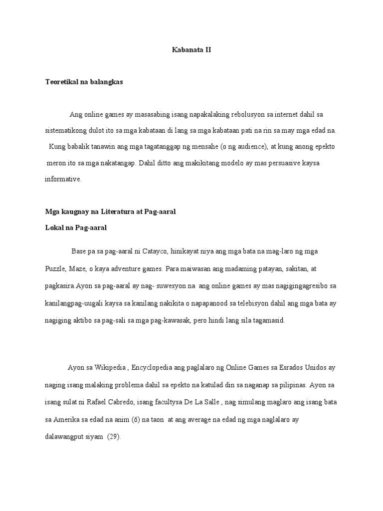 epekto ng online games sa mga estudyante thesis
