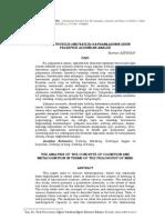 Biliş ve Üstbiliş (Metabiliş) Kavramlarının Zihin Felsefesi Açısından Analizi