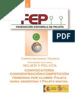 Convocatoria Competiciones Especial Femenina 2012
