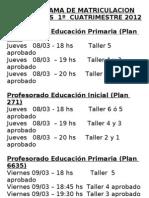 Cronograma de Matriculacion 1c 2012